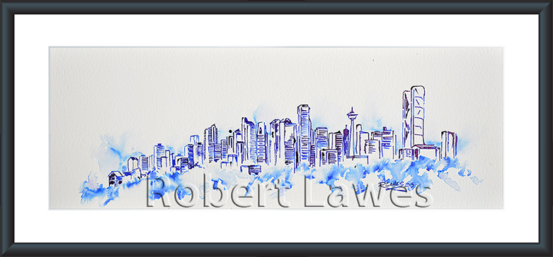 Calgary skyline in pen and Ink and Blue Inkwash